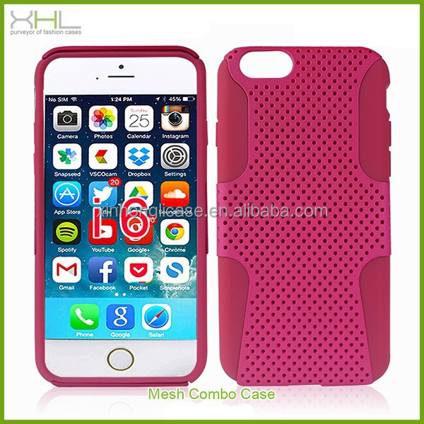 "Hot sale Mesh 2 in 1 silicone pc phone cases for iphone 6 4.7"" inch,latest mobile phone skin cover"