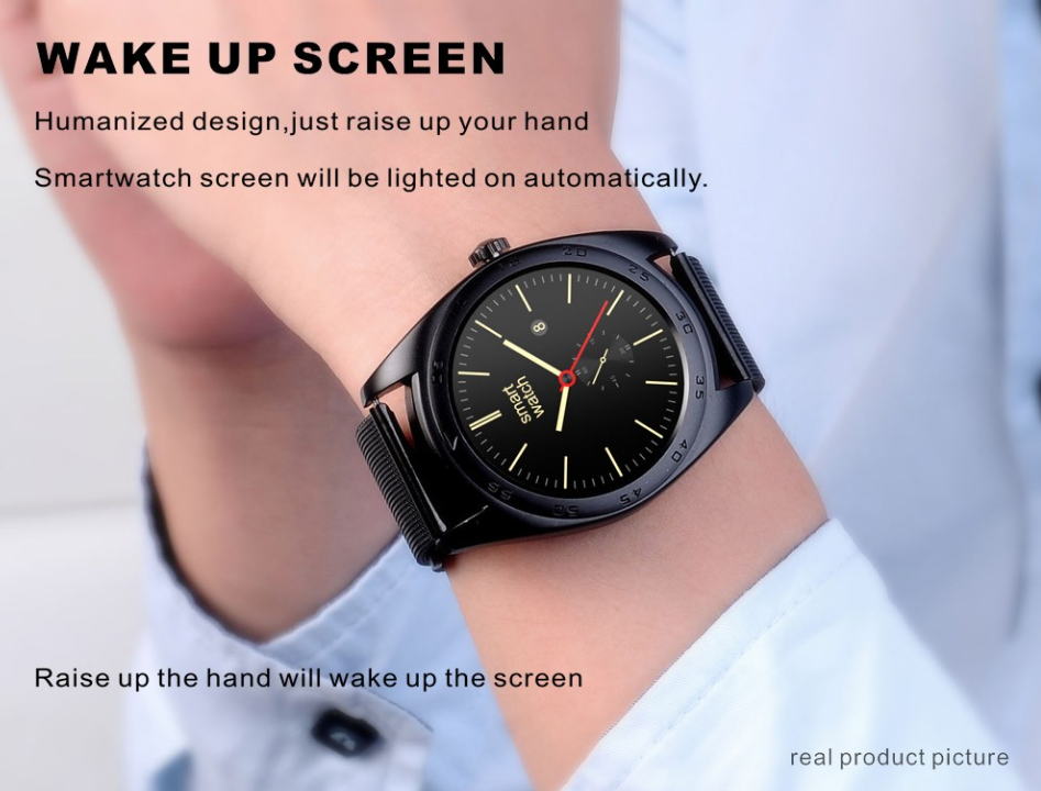 "1.22"" IPS Round Touch Screen Smart Watch Phone with Heart Rate Sensor MTK2502C Smart Watch K89"