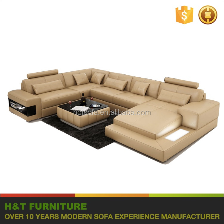 Extra large corner sofa set, leather lounge suite with LCD, corner group for large living room