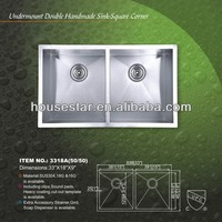 CUPC SS304 quite good handmade stainless steel sink, utility, durable, nice-looking---3318A(50/50)
