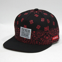 Fancy 5 Panels Custom Logo Snapback Cap and Hat with Leather Patch