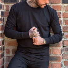 Round Neck wholesale fitness clothing Plain Fashion Tight Fit Thin black Long Sleeve T Shirts