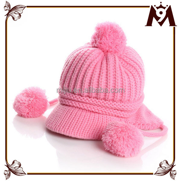 Custom design very soft knitting crochet baby hat with fur balls