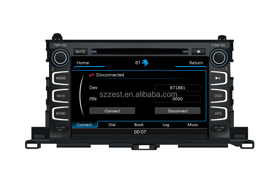 ZESTECH OEM In dash auto dvd for Toyota highlander 2015 with 3G usb port and gps navigation system
