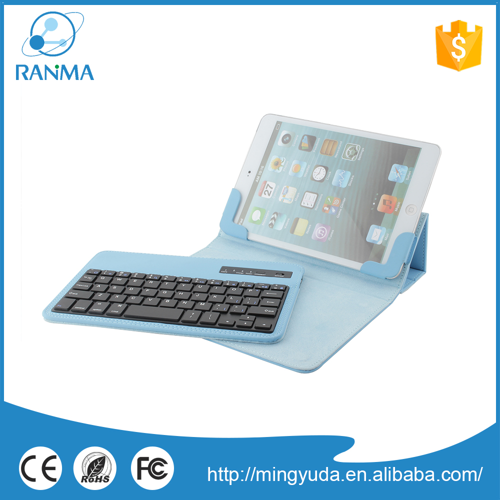 7-8 inch universal leather tablet cover with bluetooth wireless keyboard