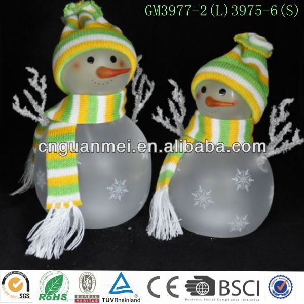 Wholesale newest frost glass christmas standing snowman kits