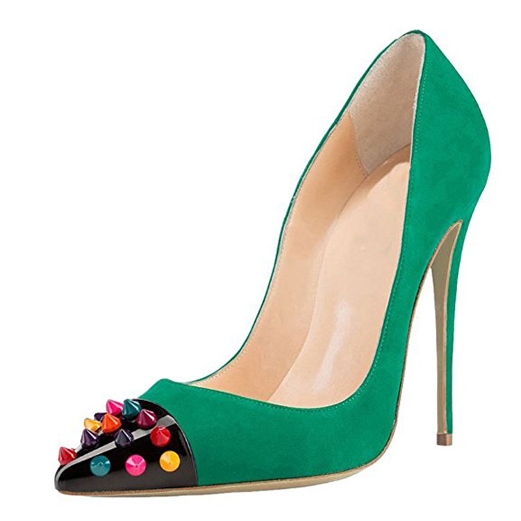 2017 new design Green color stiletto sexy women high <strong>heels</strong> with rivets