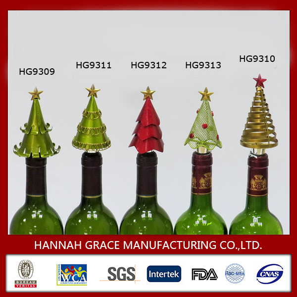 Metal Christmas Tree Ornaments Wine Bottle Stopper