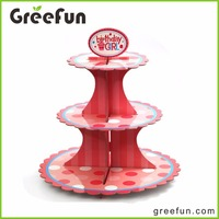 Custom 3 Tires Paper Cake Cup Stand For Wedding And Birthday Party Wholesale Cake Display