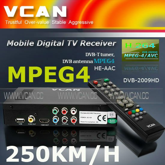 Next satellite receiver DVB-T2009HD-41 portable dvb-t tv receiver box with USB upgrade,2 Tuner,250KM/H speed for car