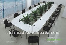 20 person simple design white board QQ idea large size aluminum conference table