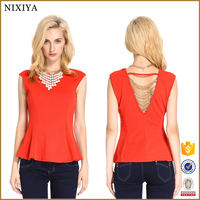 Open back sexy office ladies crochet blouse baju