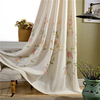 Wholesale hot sale polyester embroidery linen window curtain,fashion curtain design, voile grommets curtain for european country