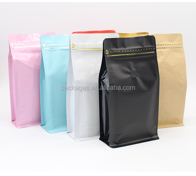 1/2 pound craft and aluminum foil bag coffee tea bag with vent valve and zipper top