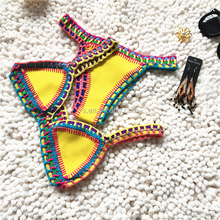 2016 Newest high quality sexy women swimsuit brazilian handmade neoprene girl crochet bikini