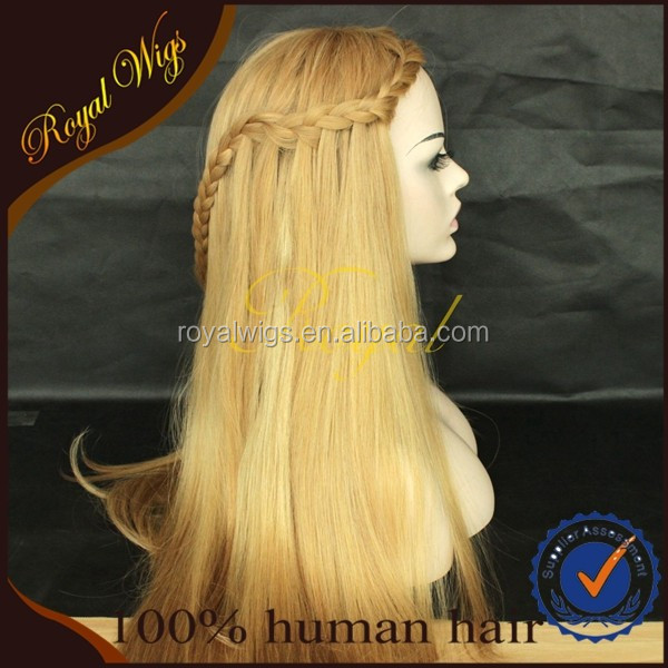 5A High Quality Blonde Mogolian Human Hair Silk Top Invisible Knot Jewish Wig Kosher Wigs in Low Price
