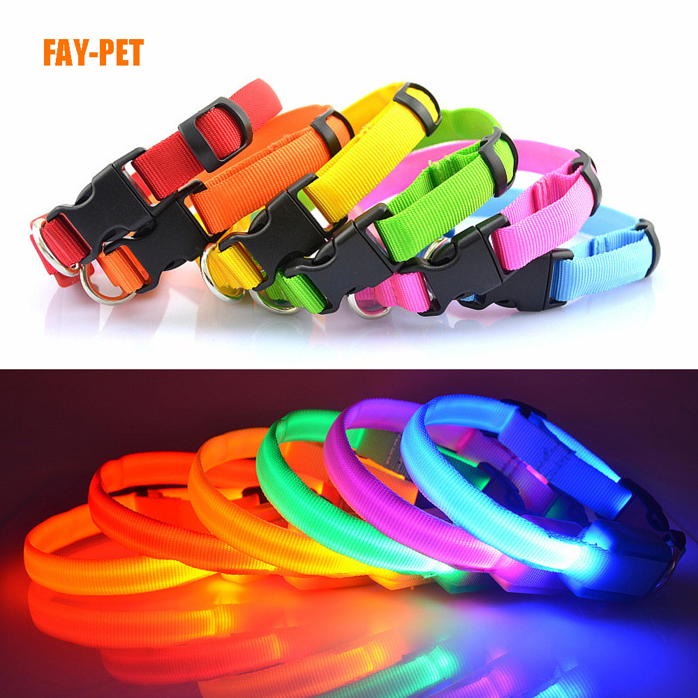 Factory pet accessory supply free sample led dog collar for dogs cats nylon webbing led dog collar