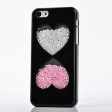 Wholesale colorful crystal glitter bicentric love hearts mobile phone case for iphone 6 6plus 5 5se
