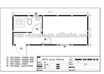 Flat Pack Container House &Single Unit with Bathroom& SH115