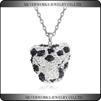 Apple Shaped 925 Sterling Silver Pendant With Black And White Zicron