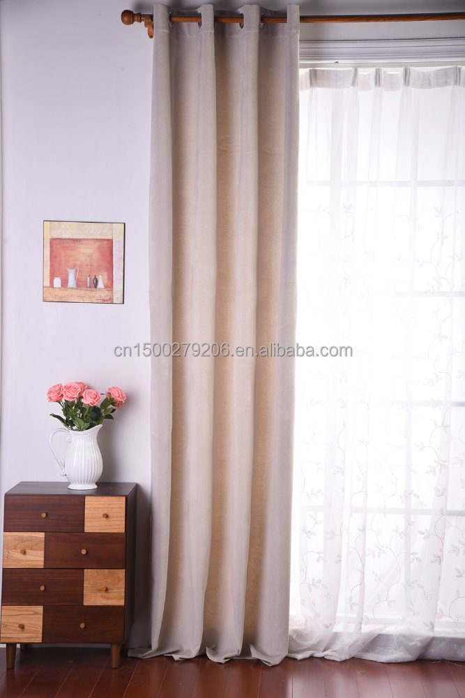 Hot selling 100% polyester solid color stripe window curtain, heavy duty soundproof window curtain