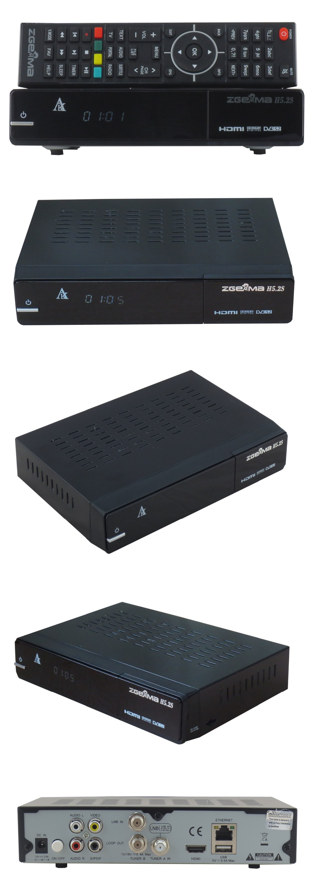 Multi-Features Zgemma H5.2S Satellite Receiver&Media Player Dual Core Linux OS H.265/HEVC DVB-S2+S2 Twin Tuners