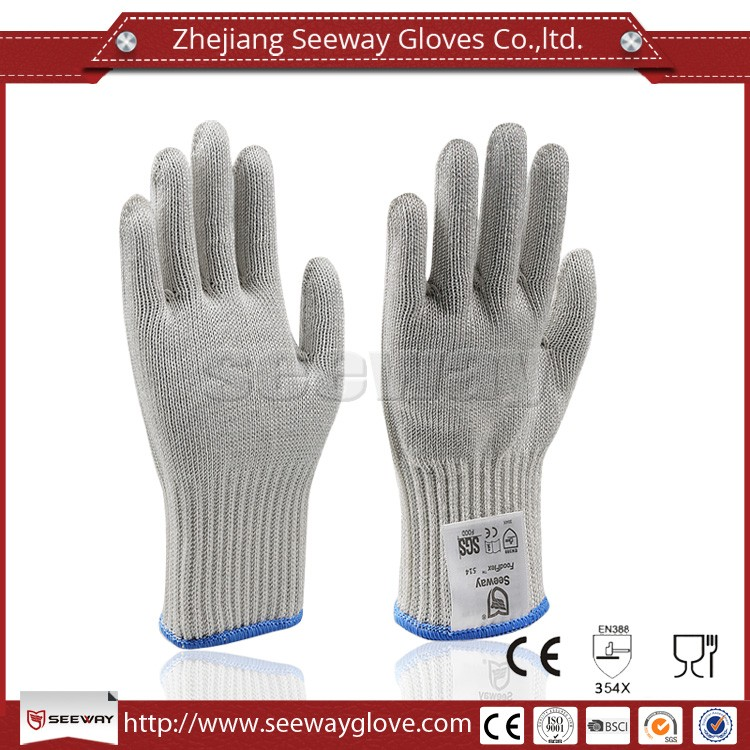 Seeway White Level 5 Cut Resistant Stainless Steel Safety Gloves Food Grade