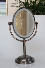 antique style oval led light makeup mirror 9.5 inch two-way mirror glass
