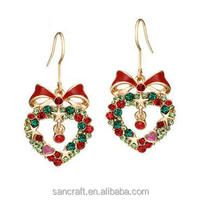 Hot Sales Jewelry cute colored Crystal Christmas Earrings