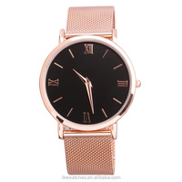 Fashionable unisex all stainless steel rose gold watch, mesh band watch