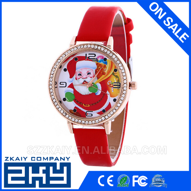 2016 Santa Claus Reindeer Christmas Watches For Girls Women Leather Quartz Watch Ladies Wrist watch Clock Christmas Gifts kids