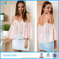 Crochet off shoulder casual women blouse 2016 wholesale ladies top