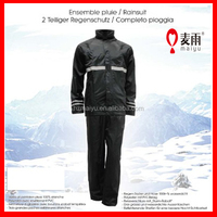 Maiyu Adult waterproof 190T polyester with PVC PU coating reflective black motorcycle rain suit