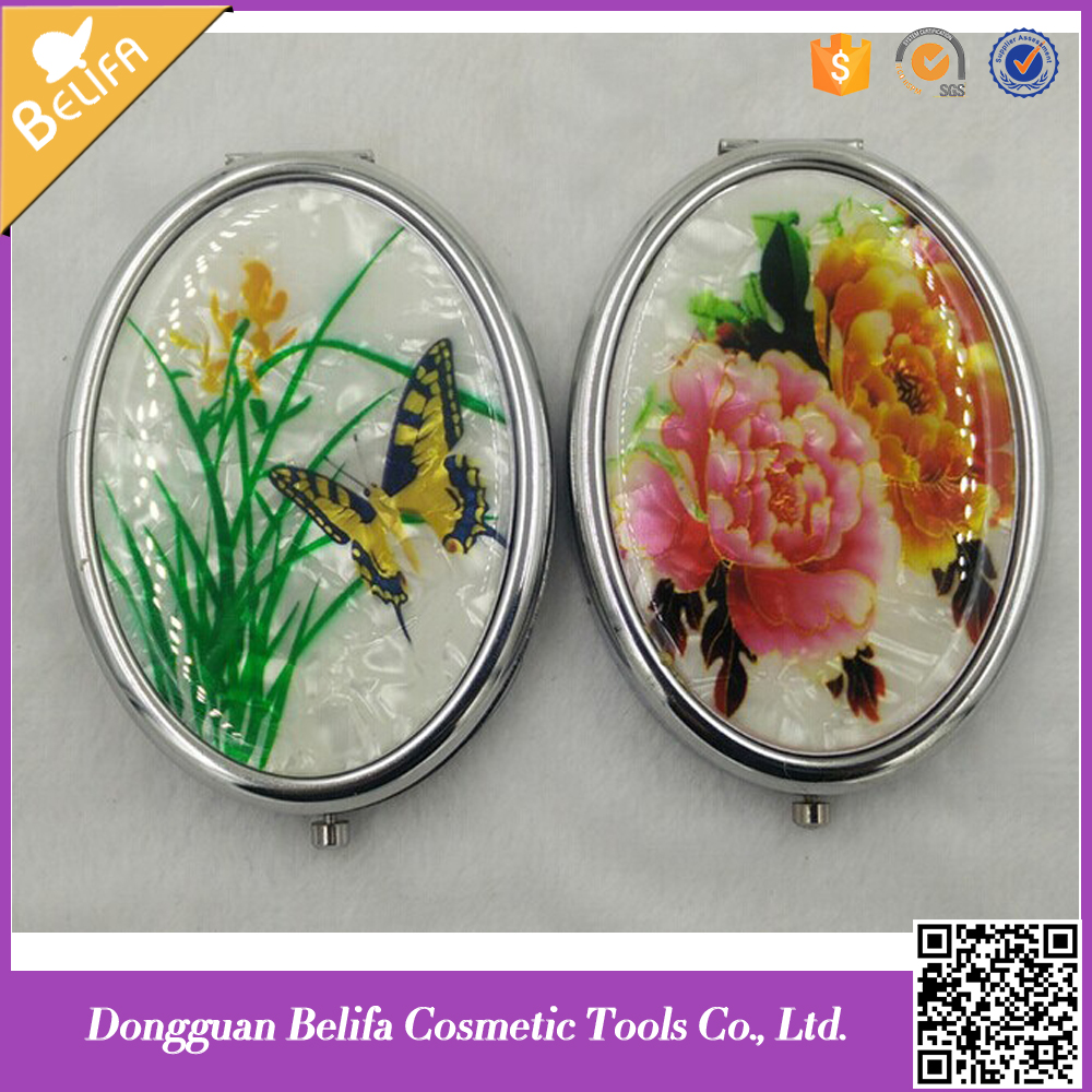 Plastic and wood Chinese traditional pattern cover makeup mirror cosmetic mirror
