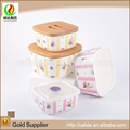 Wholesale colorful made rectangle design home used eco-friendly porcelain ceramic sugar bowl with lid