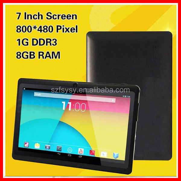 Factory Wholesale 7 Inch 4-core Tablet Q88H Allwinner A33 Android 4.4 Wifi Surfing Customized Bluetooth Black US Standard MID