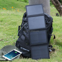 Solar power pack waterproof &flexible outdoor solar mobile charger bag with two solar panels