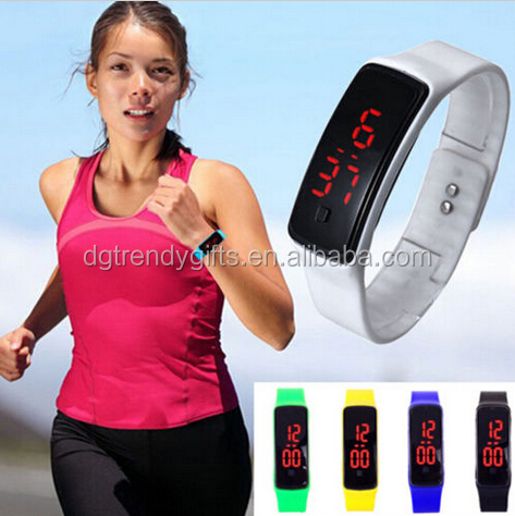 Unisex Men Women Sport Silicone Digital Red LED Wrist Watch Thin Watches Ultra