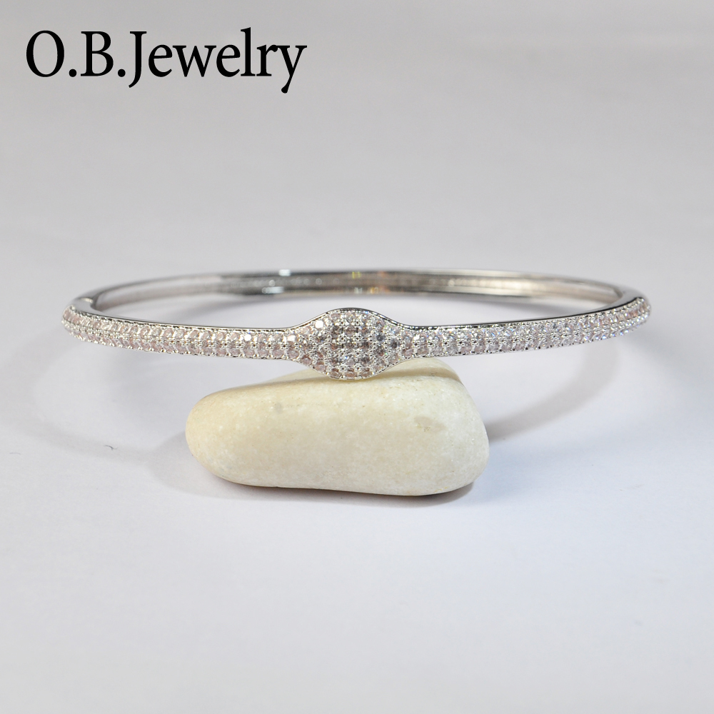 The Newest Bracelet Designs AAA Clear Zircon Silver 925 Bangle From Alibaba