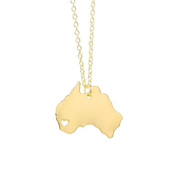 Australia map pendant wholesale map necklace jewelry gold silver plated for travelling