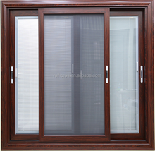 Wooden Color Sliding Aluminum Windows with mosquito net