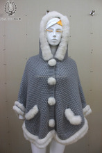 Adorable Style Rabbit Fur Knit Cape With Hat Spring Knitted Fur Shawl Sweet Girls Cute Knitting Dobby Poncho
