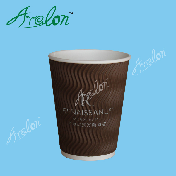 custom logo printed ripple wall disposable coffee paper cups with lids