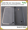 Flip leather back cover sleep function wood housing case for samsung galaxy s4 i9500