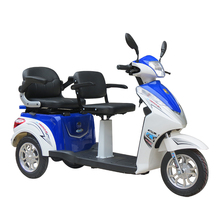 Hot selling disabled motorcycle three wheels 500w brushless motor lithium 2 seat mobility scooter