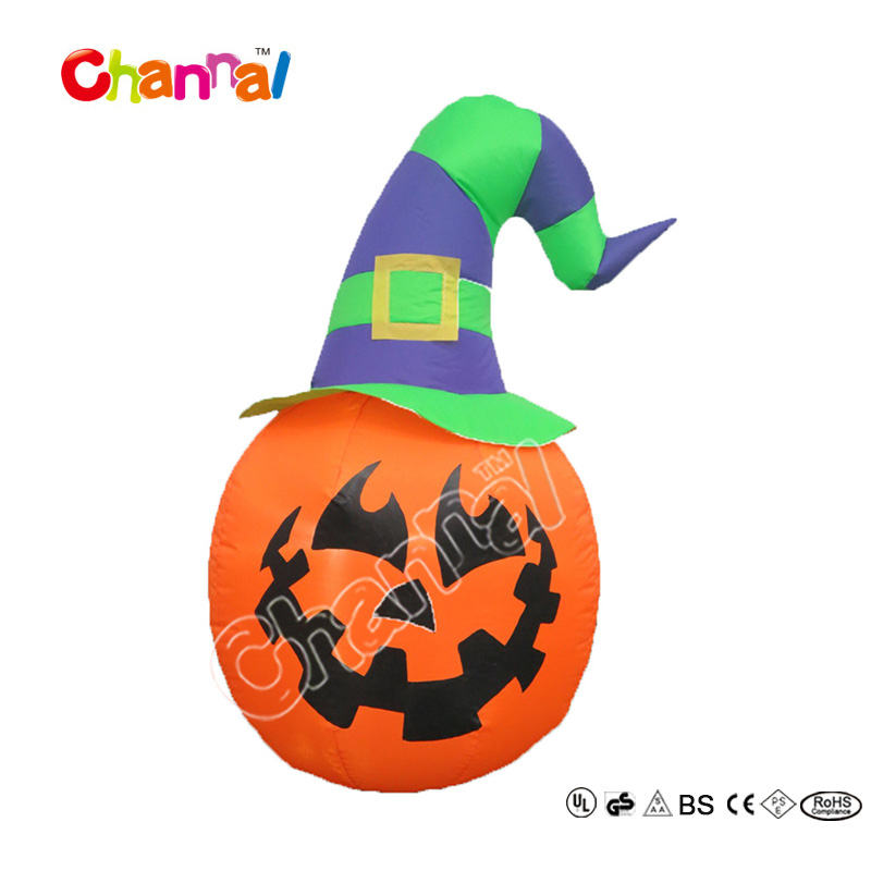 Halloween decoration led lights inflatable pumpkin with witch hat
