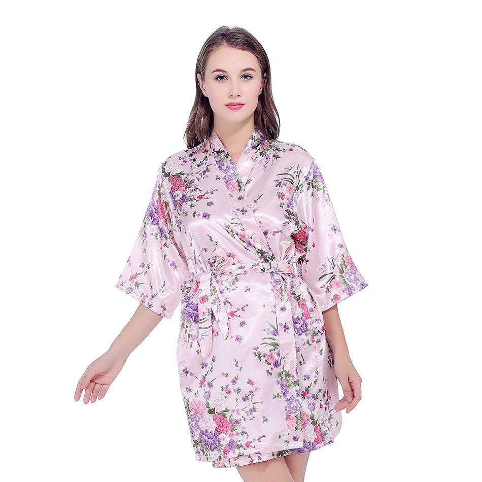 Satén de seda de novia la dama Bañeras robe corto kimono robe de ...