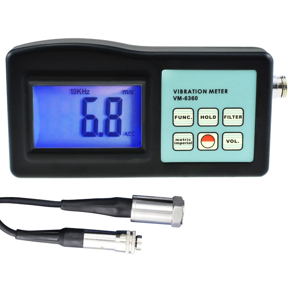 Digital Vibration Meter Vibrometer Gauge Tester Analyzer 10Hz-10kHz Measures Acceleration Velocity Displacement RPM Frequency