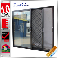 AS2047 Australia standardsliding aluminium jalousie storm doors with security mesh