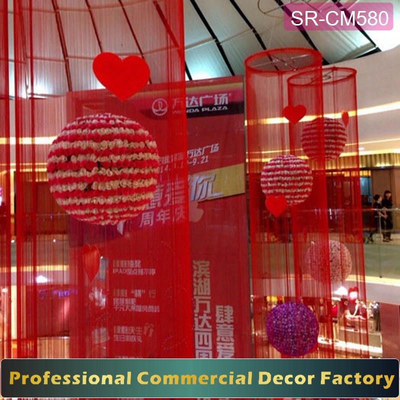 Customize Shopping mall hanging red curtain with flower ball inside for valentine's day decoration
